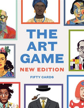 The Art Game New Edition Fifty Cards text.  Illustration of various artists with colored borders around each image.
