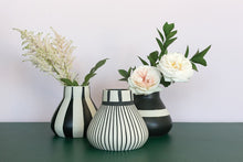 collection of black and white vases with flowers on green surface