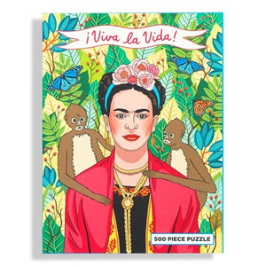 Front box of 500 piece jigsaw puzzle, Frida Kahlo in jungle with two monkeys on each side of her shoulder with Viva La Vida banner on top
