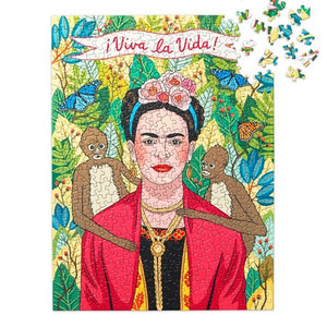 500 piece jigsaw puzzle, Frida Kahlo in jungle with two monkeys on each side of her shoulder with Viva La Vida banner on top