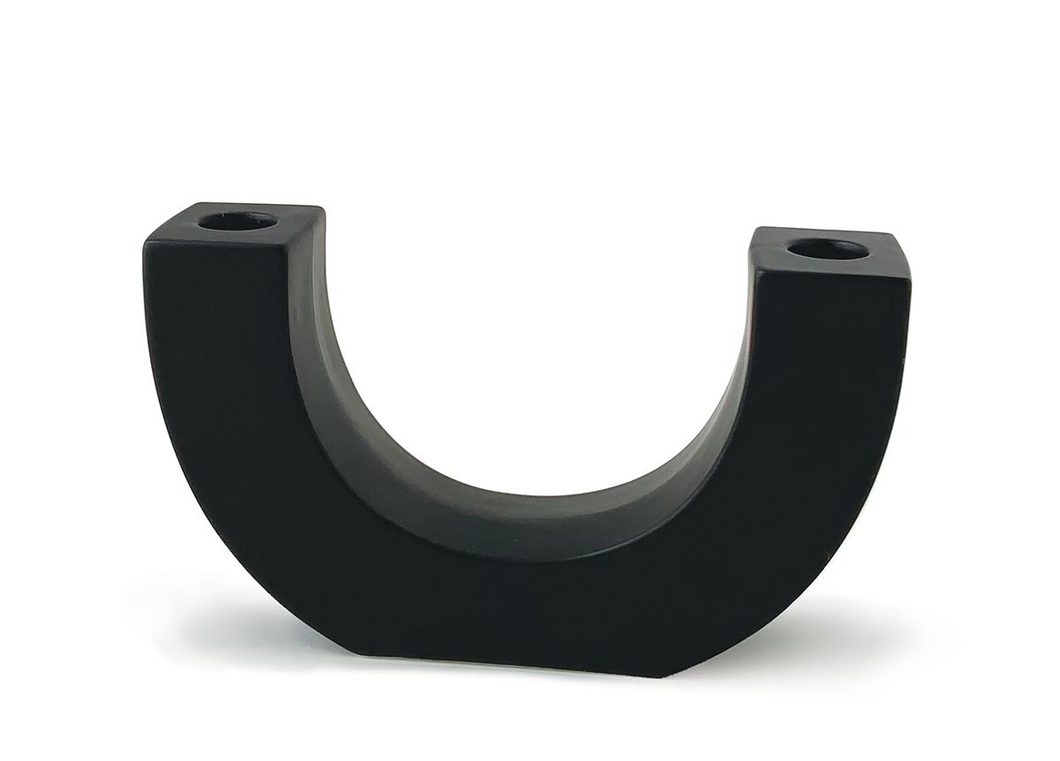 black u-shape ceramic double taper holder