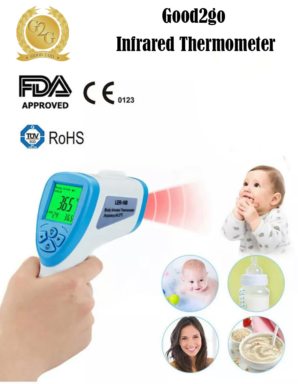Good2go Infrared No Contact Thermometer (6 Month Warranty Included) Free 1-2 Day Priority Delivery