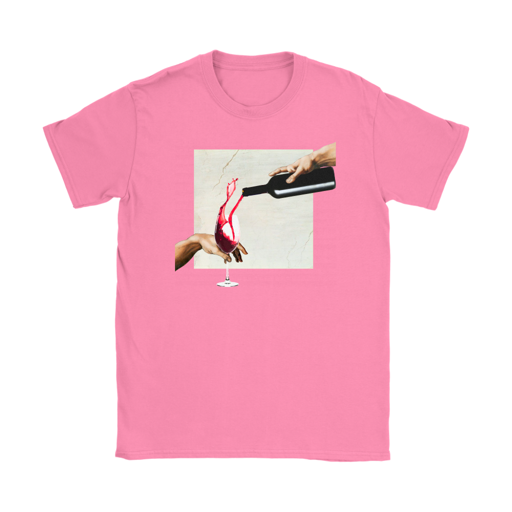Wine of Adam Michelangelo Women T-shirt | The Creation of Adam Wine T-shirt - Wine Shadow