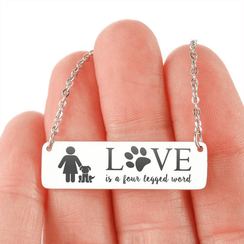 Dog Mom Necklace - Love is a four legged word Necklace (QUIZ Special Offer)