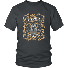 30 th birthday gift shirt - Vintage 1989 Aged to Perfection - Wine Shadow