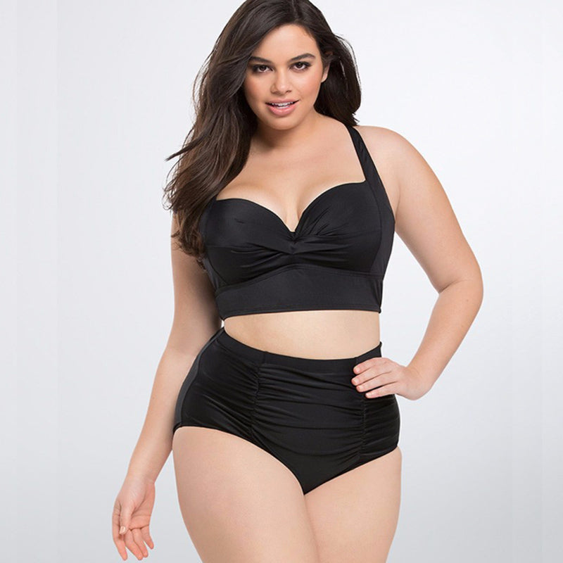 Plus Size Bikini Set with High Waist