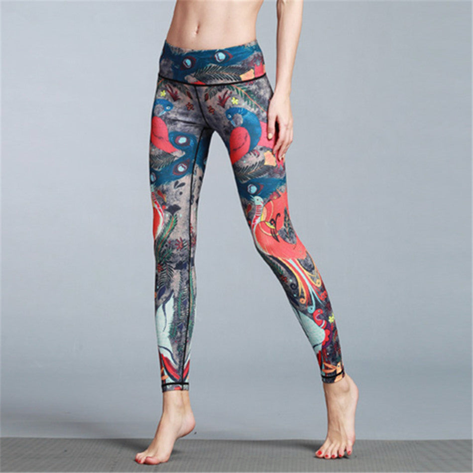 Retro Style Lovebirds Printed Yoga Pants