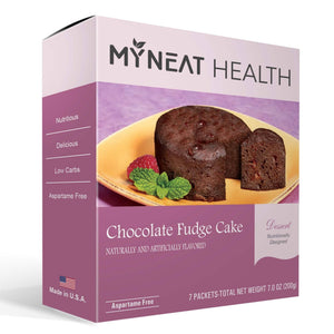 Healthy dessert chocolate fudge cake by My Neat Nutrition. Keto, Kosher and bariatric friendly for weight loss
