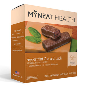 Lose weight with Peppermint Cocoa Crunch Meal Replacement Bar by My Neat Nutrition. Healthy Kosher Protein bar