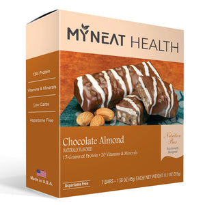 Almond Chocolate Meal Replacement Bar by My Neat Nutrition. Healthy Kosher Protein bar with low calories and low carbs