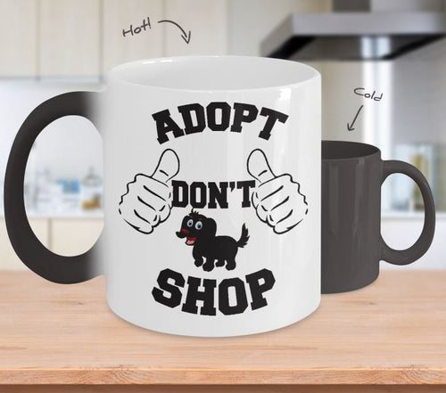 Adopt a Dog Color Changing Mug, Adopt Don't Shop, Dog Lovers Novelty Ceramic Cup and Gift Coffee Mug Gearbubble