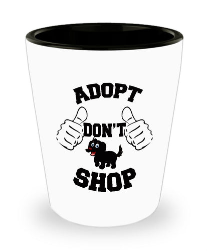 Adopt a Dog Shot Glass, Adopt Don't Shop, Dog Lovers Novelty Ceramic Jigger and Gift (White Shot Glass 1.5 ounce) Shot Glass Gearbubble
