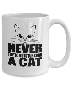 Animal Lover Gifts - Coffee Mug - Never try to out-stubborn a cat Coffee Mug Gearbubble