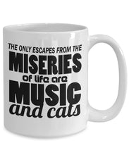 Animal Lover Gifts - Coffee Mug - The only escapes from the miseries of life are music and cats Coffee Mug Gearbubble