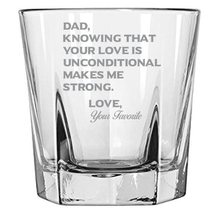 Dad Knowing Your Love is Unconditional Make Me Strong - Love, Your Favorite - love my Father - Gift for Father- 12.5-oz Faceted Bourbon Rocks Glass Rock Glass PrintTech Default Title