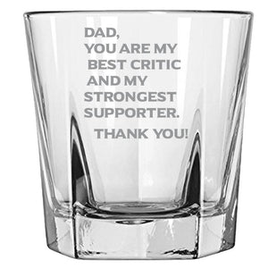 Dad You Are My Best Critics and My Strongest Supporter - love my Father - Gift for Father- 12.5-oz. Faceted Glass Bourbon Rocks Glasses Rock Glass PrintTech Default Title