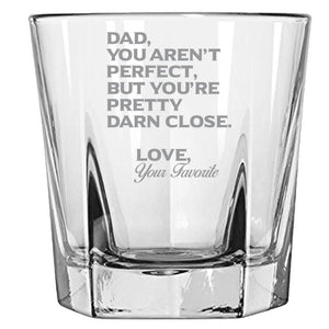 Dad You Aren't Perfect, But You're Pretty Darn Close-Gift for Father- Love My Dad- 12.5-oz. Faceted Glass Bourbon Rocks Glasses Rock Glass PrintTech Default Title