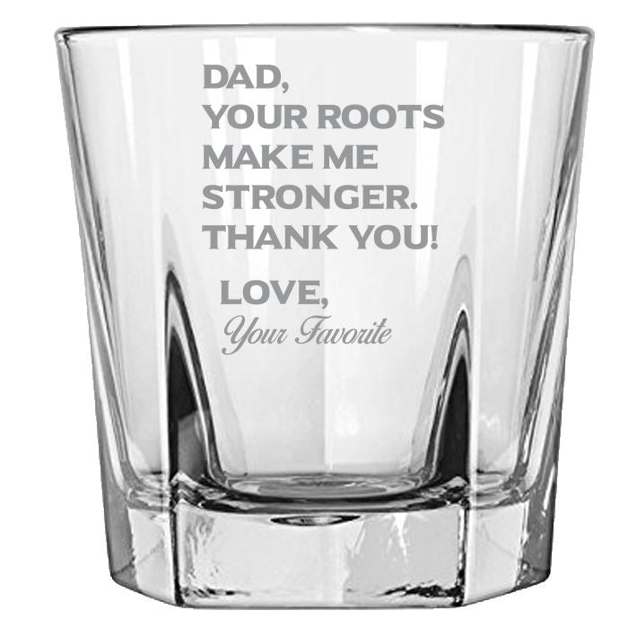 Dad Your Roots Make Me Stronger -Thank You - Love my Father -Gift for Dad- 12.5-oz. Faceted Glass Bourbon Rocks Glasses Rock Glass PrintTech Default Title