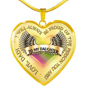 Daughter From Dad Gift -I Will Always be Proud - Necklace (Optional Engraving) Jewelry ShineOn Fulfillment Luxury Necklace (Gold) No