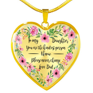 Daughter from Dad Gift - You are the Kindest Person I Know - Necklace (Optional Engraving) Jewelry ShineOn Fulfillment Luxury Necklace (Gold) No