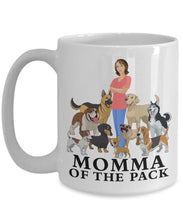 Dog 15 ounce Mug, Momma of the Pack, Dog Lovers Novelty Ceramic Cup and Gift Coffee Mug Gearbubble 15oz Mug White