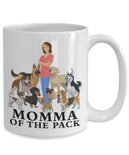 Dog 15 ounce Mug, Momma of the Pack, Dog Lovers Novelty Ceramic Cup and Gift Coffee Mug Gearbubble