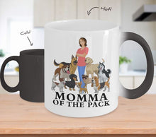 Dog Color Changing Mug, Momma of the Pack, Dog Lovers Novelty Ceramic Cup and Gift Coffee Mug Gearbubble