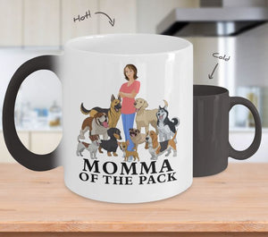 Dog Color Changing Mug, Momma of the Pack, Dog Lovers Novelty Ceramic Cup and Gift Coffee Mug Gearbubble Color Changing Mug White