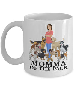 Dog Mug, Momma of the Pack, Dog Lovers Novelty Ceramic Cup and Gift Coffee Mug Gearbubble 11oz Mug White