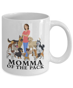 Dog Mug, Momma of the Pack, Dog Lovers Novelty Ceramic Cup and Gift Coffee Mug Gearbubble