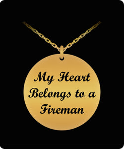 Fireman Necklace - My Heart Belongs to a Fireman - Laser Etched Pendant Laser Engraved Necklace Gearbubble