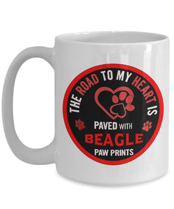 Gift for Beagle Lovers - Road to my heart is paved with Beagle paw prints -love my dog -Coffee Mug Coffee Mug Gearbubble