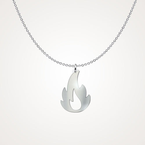 Love Fireman Necklace - He Sets My Heart in Fire - Sterling Silver Necklace Freeform Necklace Gearbubble