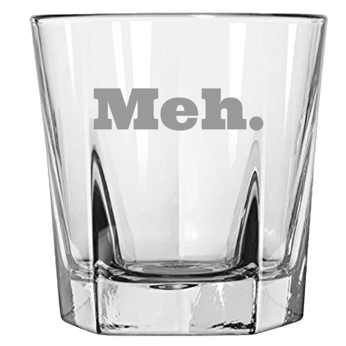 Meh - Gift Ideas for Mom, Dad, Sister, Brother, Friends - Funny 12.5-oz. Faceted Glass Bourbon Rocks Glasses Rock Glass PrintTech Default Title