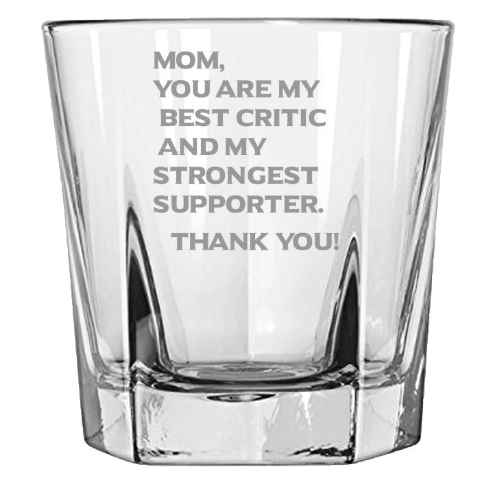 Mom You Are My Best Critics and My Strongest Supporter -Gift for Mom - Love My Mother - 12.5-oz. Faceted Glass Bourbon Rocks Glasses Rock Glass PrintTech Default Title