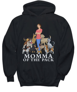 Momma of the Pack - For a Dog Lover Who Loves ALL Her Dogs - Novelty Woman's T-Shirts and Hoodies Shirt / Hoodie Gearbubble Hoodie Black sml