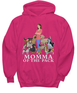 Momma of the Pack - For a Dog Lover Who Loves ALL Her Dogs - Novelty Woman's T-Shirts and Hoodies Shirt / Hoodie Gearbubble Hoodie Cyber Pink sml