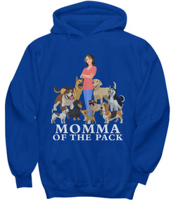 Momma of the Pack - For a Dog Lover Who Loves ALL Her Dogs - Novelty Woman's T-Shirts and Hoodies Shirt / Hoodie Gearbubble Hoodie Royal sml