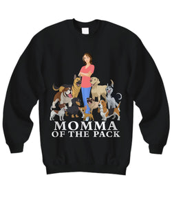 Momma of the Pack - For a Dog Lover Who Loves ALL Her Dogs - Novelty Woman's T-Shirts and Hoodies Shirt / Hoodie Gearbubble Sweatshirt Black sml
