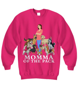Momma of the Pack - For a Dog Lover Who Loves ALL Her Dogs - Novelty Woman's T-Shirts and Hoodies Shirt / Hoodie Gearbubble Sweatshirt Heliconia sml
