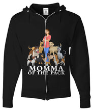 Momma of the Pack - For a Dog Lover Who Loves ALL Her Dogs - Novelty Woman's T-Shirts and Hoodies Shirt / Hoodie Gearbubble Zip Hoodie Black sml