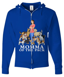 Momma of the Pack - For a Dog Lover Who Loves ALL Her Dogs - Novelty Woman's T-Shirts and Hoodies Shirt / Hoodie Gearbubble Zip Hoodie Royal Blue sml
