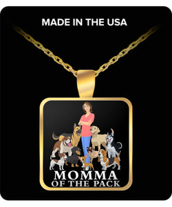 Momma of the Pack - She Loves Them All! Necklace Gearbubble Square Pendant Necklace - Gold Plated