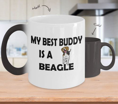 My Best Buddy is a Beagle Coffee (or Tea) Color Changing Mug - Novelty Cup, Gift idea for a Dog Lover Coffee Mug Gearbubble