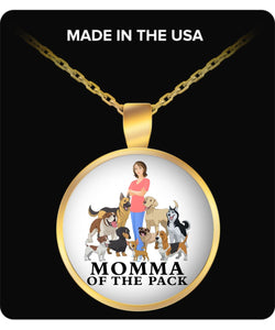 Necklace - Momma of the Pack - Happy Days! Necklace Gearbubble Round Pendant Necklace - Gold Plated