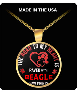 Road to my heart is paved with Beagle paw prints -love my Beagle dog quote Coffee Mug White Ceramic Necklace Gearbubble