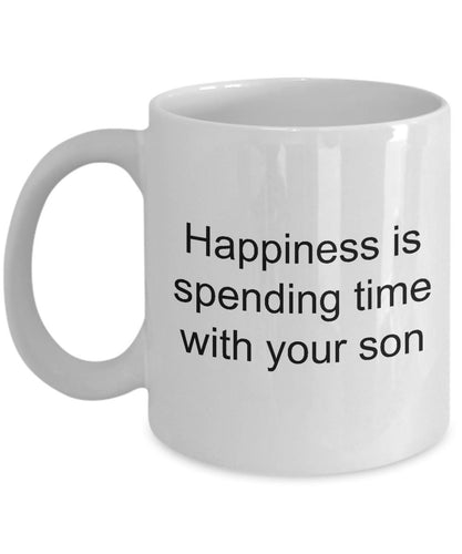 Son from Father- Happiness is spending time with your son- Dad love my son- White Ceramic Coffee mug gift 11 ounce Coffee Mug Gearbubble