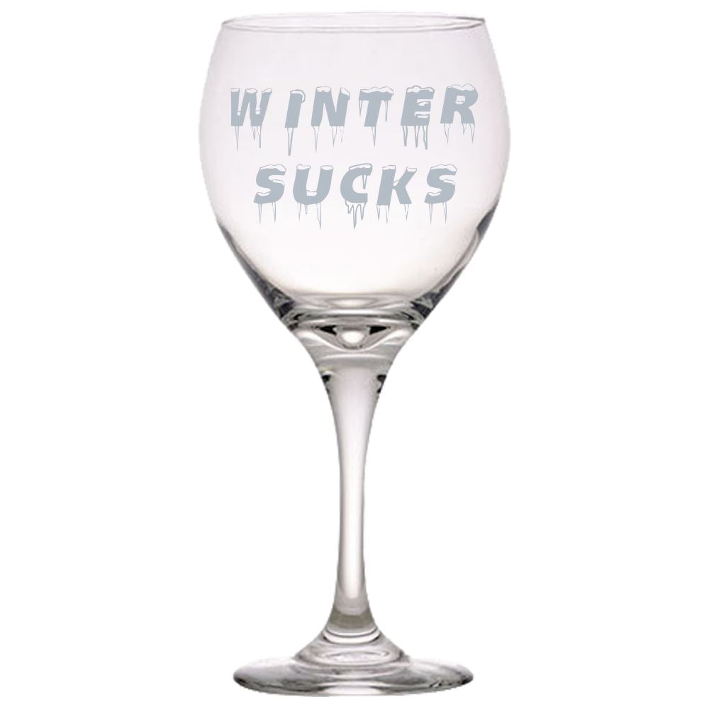 Winter Sucks -Great for someone who really does not like Snow and Ice - Funny Red Wine Glass Red Wine Glass PrintTech Default Title