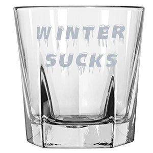 Winter Sucks -Great for someone who really does not like Snow and Ice - Funny Rock Glass Rock Glass PrintTech Default Title
