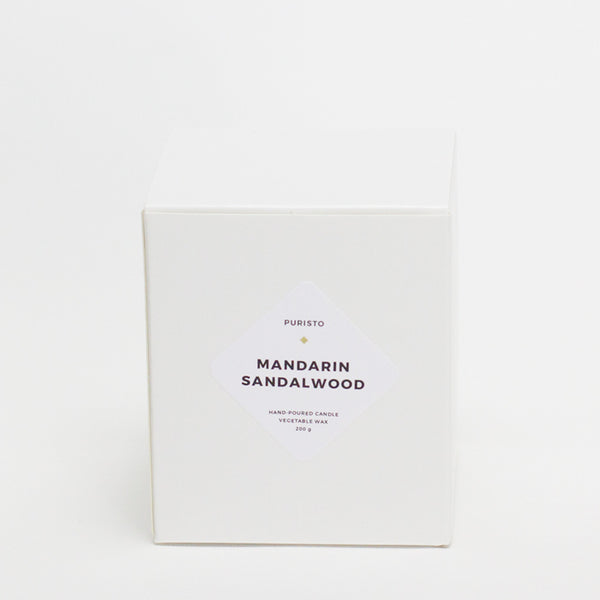 MANDARIN + SANDALWOOD - Puristo - White Candle